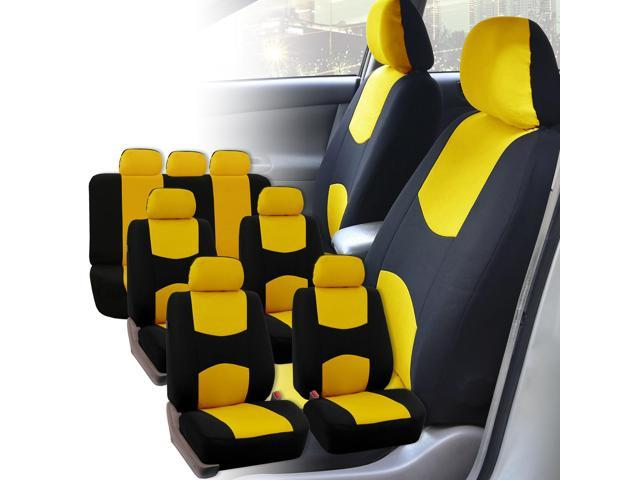 Car Seat Covers 3 Row for Auto SUV VAN 7 seaters Yellow