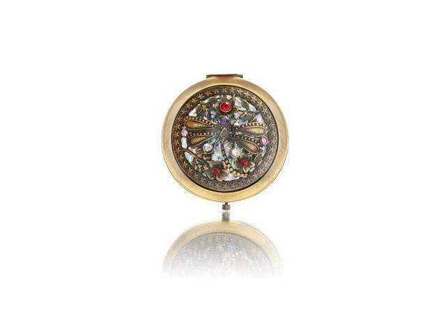 Round Brass Dragonfly Mirror Compact Model No. M-110