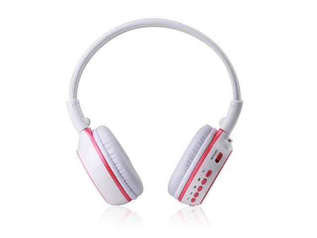 New Pink Stereo Rechargeable Wireless Headphone Handsfree Headset Earphone Support MMC SD TF with Mic FM Radio 3.5mm Port ...