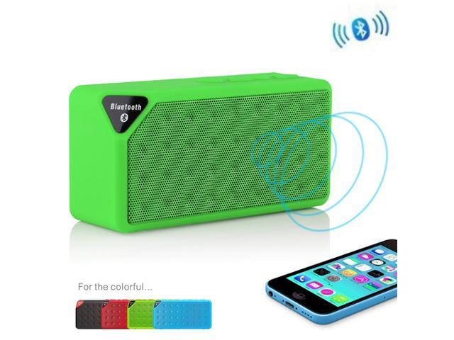 Green Portable Wireless Bluetooth A2DP Stereo Speaker Handsfree Speakers Support TF/USB with Mic For Apple iPhone 4S 5 5S ... - OEM