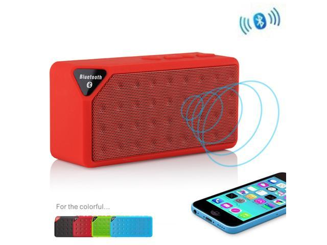 Red Portable Wireless Bluetooth A2DP Stereo Speaker Handsfree Speakers Support TF/USB with Mic For Apple iPhone 4S 5 5S 5G 5C iPad 2 3 4 iPod Touch Smartphones MP3 MP4 PC Tablet Laptop Skype MSN