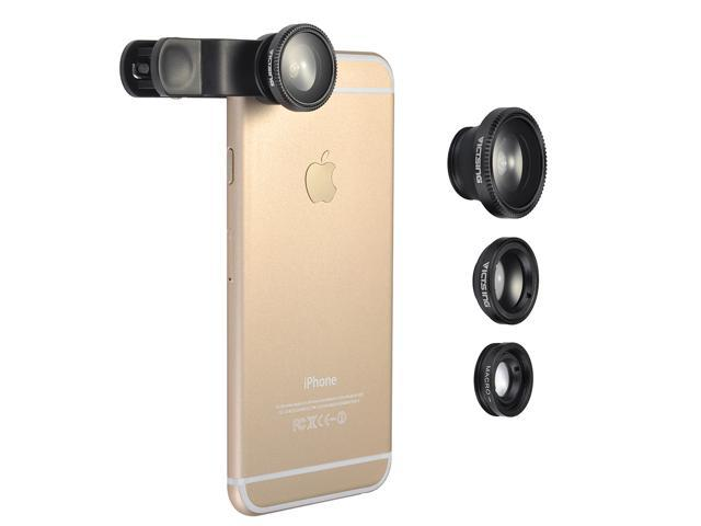 VicTsing Clip-On 180 Degree Supreme Fisheye + 0.67X Wide Angle+ Micro Lens 3-in-1 Easy-Use Camera Lens Kits For iPhone 6 / 6 Plus, iPhone 5 5S 4 4S 6S Samsung HTC