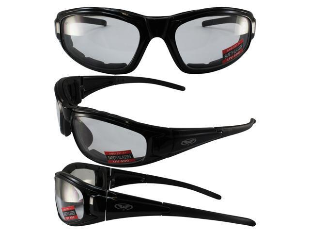 Global Vision Zilla Plus Padded Motorcycle Safety Sunglasses Black Frame Clear Lens ANSI Z87.1