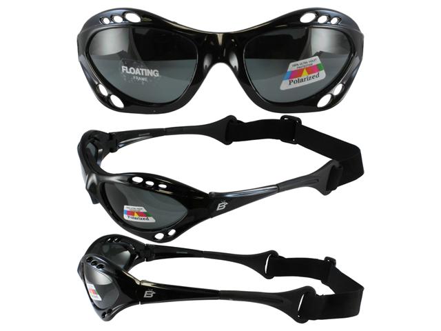 Birdz Seahawk Floating Polarized Sunglasses with Built-In Strap (Black Frame/Smoke Lenses)