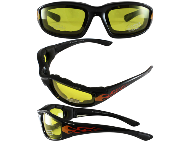 Birdz Oriole Flame Design Motorcycle Glasses with Yellow Shatterproof Anti-Fog Polycarbonate Lenses and Wind Blocking Foam