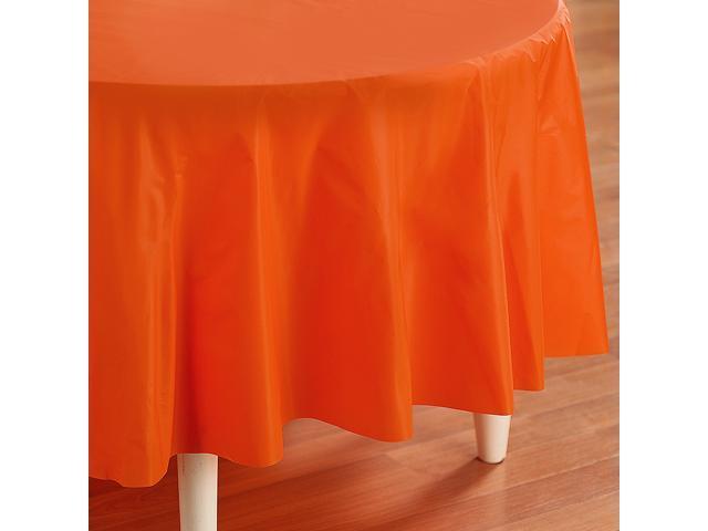 Sunkissed Orange (Orange) Round Plastic Tablecover - plastic