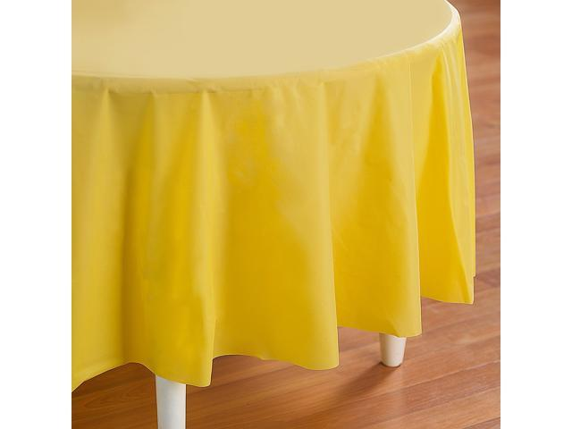 Mimosa (Light Yellow) Round Plastic Tablecover - plastic