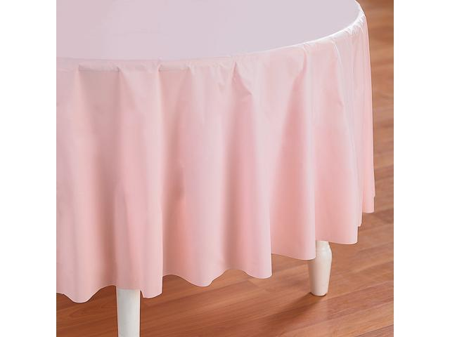 Classic Pink (Light Pink) Round Plastic Tablecover - plastic