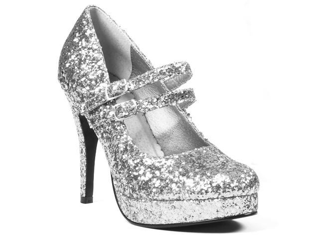 Silver Glitter Jane Adult Shoes - All Man Made Material, Glitter - 8