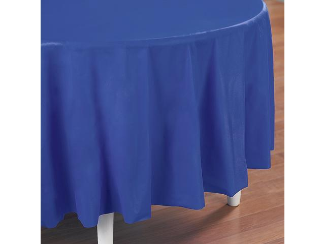 True Blue (Blue) Round Plastic Tablecover - plastic