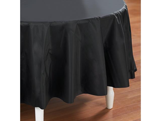 Black Velvet (Black) Round Plastic Tablecover - plastic