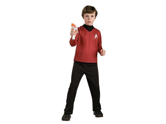 Star Trek Movie Deluxe (red) Shirt Child Costume - Red - Large - Shirt: 100% Polyester; Dickie: 85% Polyester, 15