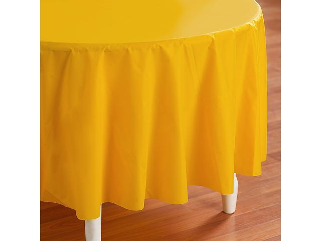 School Bus Yellow (Yellow) Round Plastic Tablecover - plastic