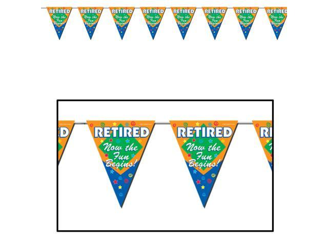 Retired Now The Fun Begins Pennant Banner - Plastic