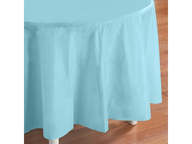 Pastel Blue (Light Blue) Round Plastic Tablecover - plastic
