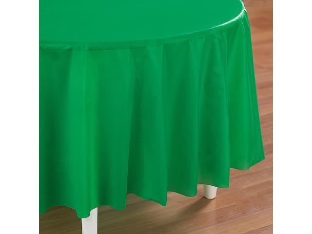 Emerald Green (Green) Round Plastic Tablecover - plastic