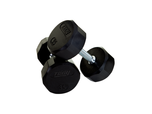 Troy 15lb 12-Sided Rubber Encased Dumbbell