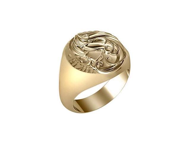 signet class ring custom made customizable Yellow gold 14K engravable Neweg