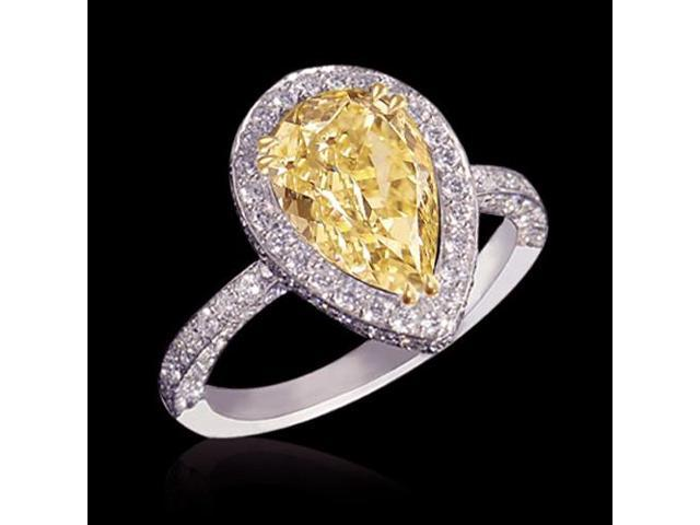 3.01 Carat Yellow Canary Pear Diamonds Engagement Ring