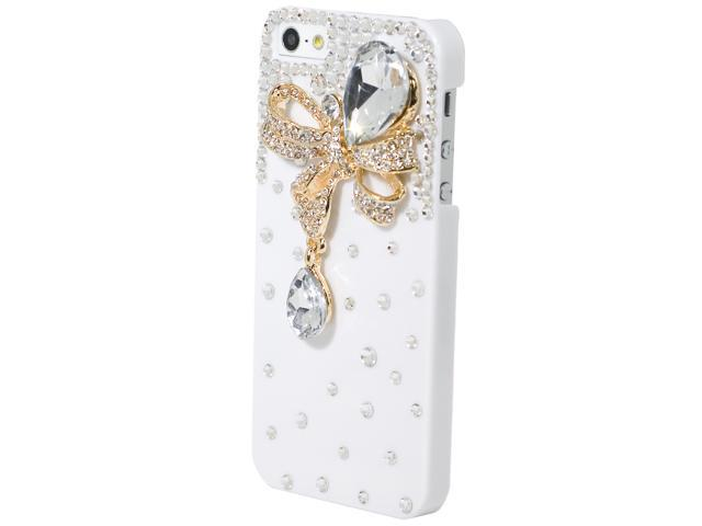 3D Luxury Handmade Crystal Bling Golden Butterfly Clear Case For iPhone 5 PC318