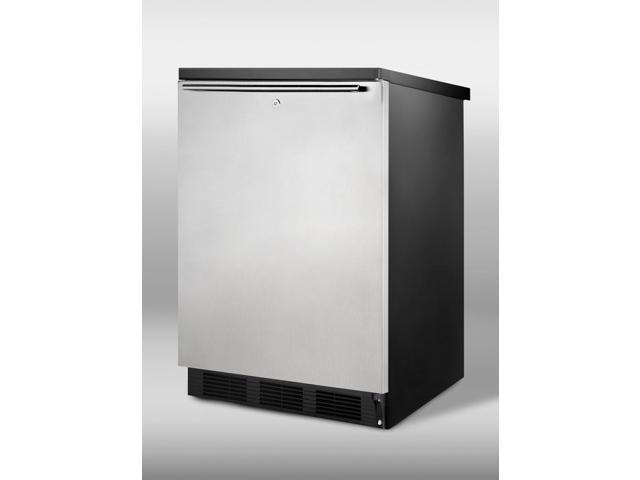 Summit  FF7LBLSSHH:  Commercial  all-refrigerator  for  freestanding  use,  with  black  cabinet,  stainless  steel  doo