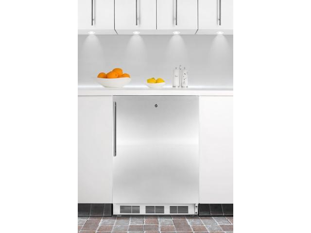 Summit  AL650LBISSHV:  ADA  compliant  built-in  undercounter  refrigerator-freezer  with  stainless  steel  door,  whit