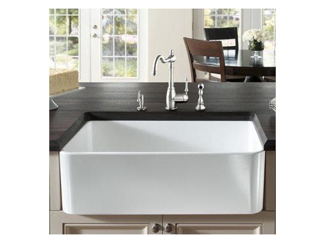 518541 Cerana 33-inch Farmhouse Kitchen Sink Apron-Front Fireclay Sink ...