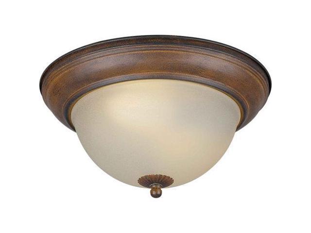 forte lighting 2 light fluorescent flush mount in rustic sienna. Black Bedroom Furniture Sets. Home Design Ideas