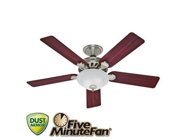 Hunter 53085 52 in. Five Minute Fan Brushed Nickel Ceiling Fan with Light