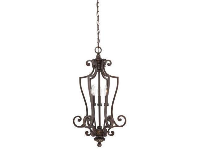 Jeremiah Josephine 3 Light Foyer, Aged Bronze w/ Gold 28233-ABZG