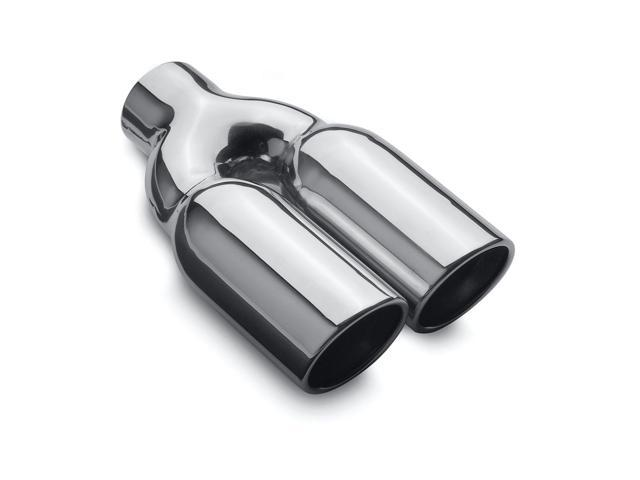 Magnaflow Performance Exhaust 35168 Stainless Steel Exhaust Tip; 2.25 in. I.D. Inlet; 3 in. Dual Round; 10 in. Long; Rolled Edge; Angle Cut; Double Wall; Polished;