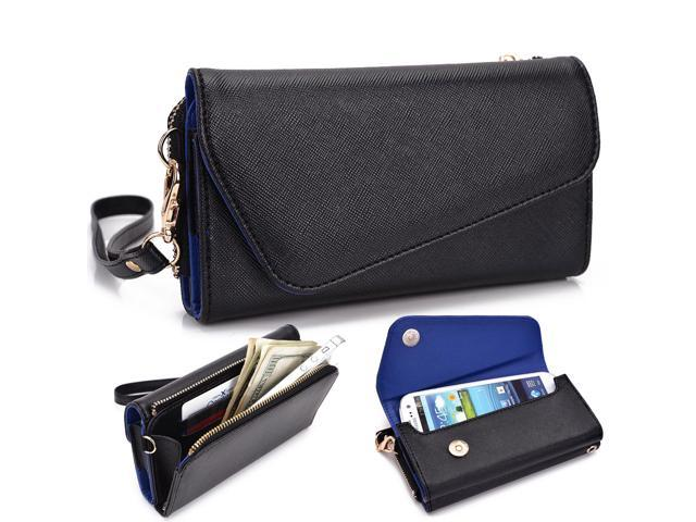 Kroo Blue Clutch Phone Wristlet w/ Zipper Pouch for Smartphone up to 5 Inch