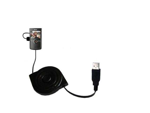 Retractable USB Power Port Ready charger cable designed for the Kodak Zi8 Pocket Video Camera and uses TipExchange