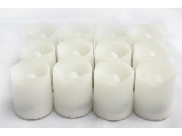 Candle Choice Set of 12 Round Melted Edge Votive Flameless LED Candles with Timer, White (CAD38TP1519M12)