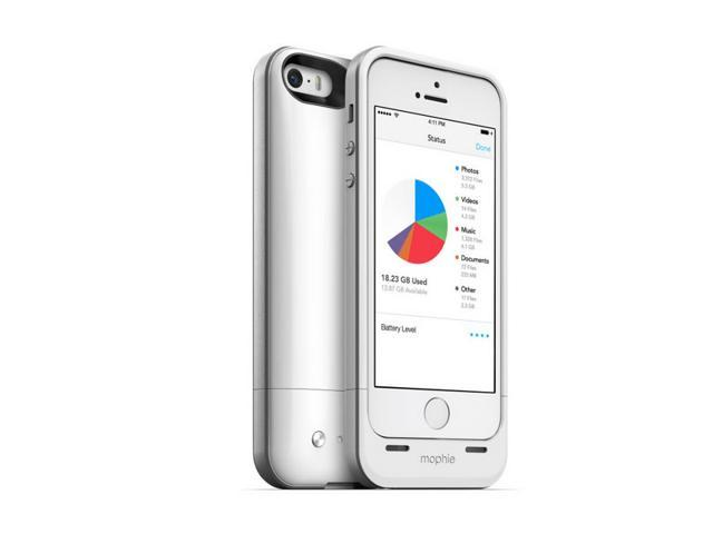 Mophie Space Pack iPhone 5s/5 Case with 32GB Extra Storage, Extra Battery Life- White