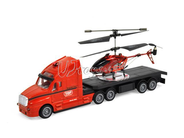 "BOYI P705A Mini 3 Channel Infrared 7"" RC Helicopter w/ Truck - Red"