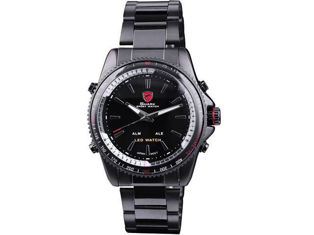 SHARK SH001 Men's LED Alarm Digital Analog Sport Stainless Steel Wrist Quartz Watch - Black