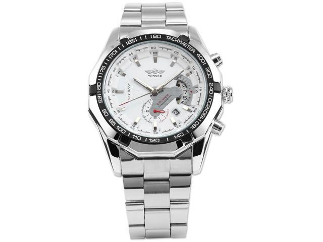 Timebear Mens Automatic Mechanical White Dial Date Silver Steel Band Wrist Watch PMW103