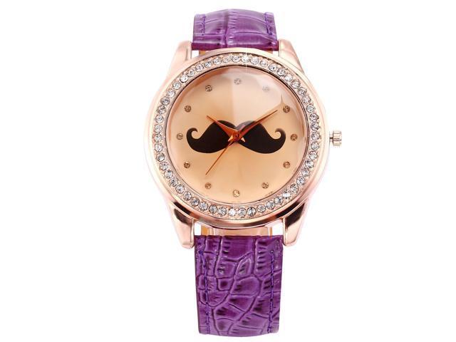 Timebear Rose Gold Tone Crystal Mustache Ladies Women Purple Leather Quartz Wrist Watch WAA513