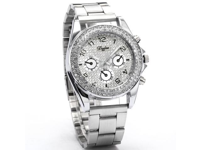 MILER Charms Silver White Crystal Analog Bracelet Ladies Girl Dress Quartz Watch