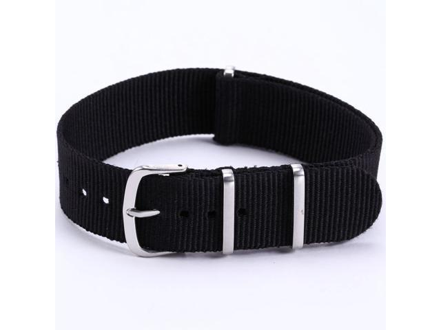 AMPM24 20mm Military Fashion Solid Black Nylon Sport Watch Band Straps For Men Lady