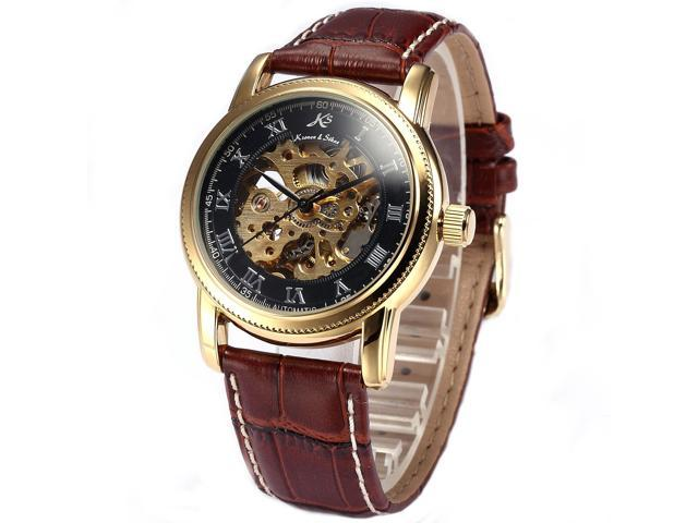 KS Gold Skeleton Automatic Mechanical Mens Leather Wrist Watch