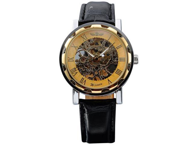 Timebear Men's Mechanical Skeleton Dial Leather Analog Watch