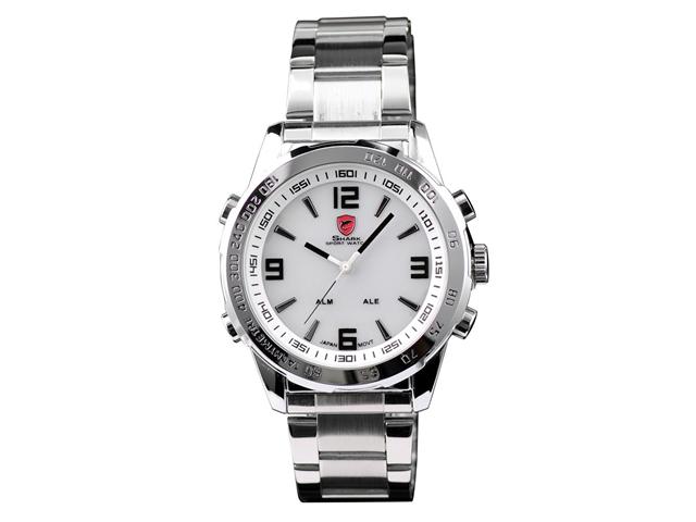 SHARK LED Digital Date Day Luxury Men's Quartz Sport Wrist White Dial Watch
