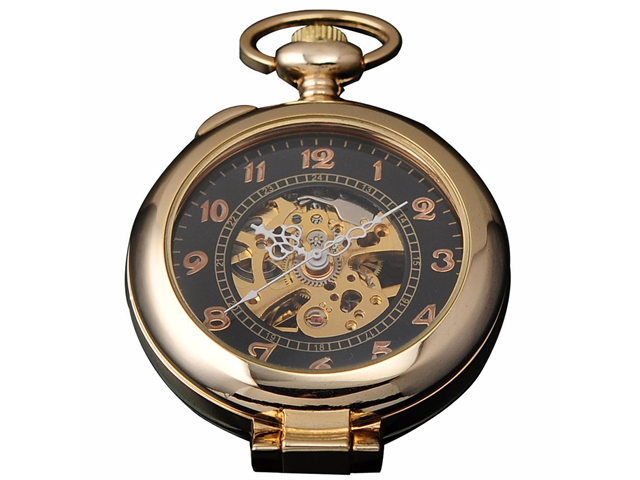 Timebear Unique Golden Magnifier Skeleton Mechanical Mens Pocket Watch Chain Gift
