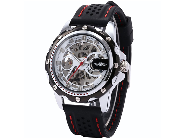 Timebear PMW082 Men's Skeleton Dial Silicone Automatic Analog Watch