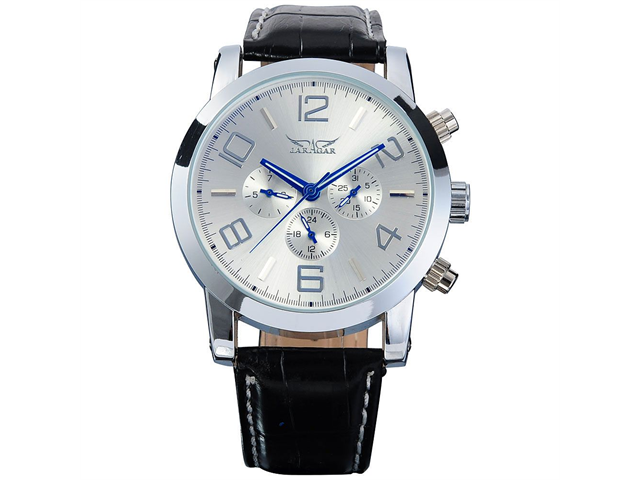 Mens Mechanical Silver Blue 6 Hands Date Day Sport Leather Wrist Watch