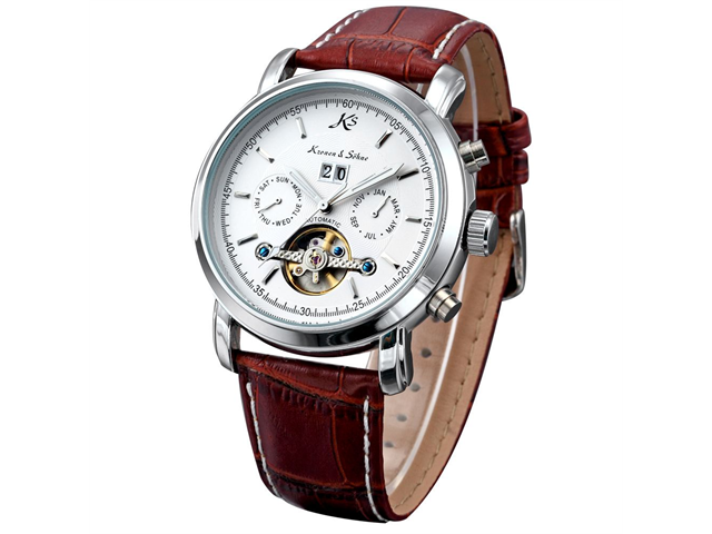 KS Tourbillon Automatic Mechanical Date White Dial Mens Sport Wrist Watch
