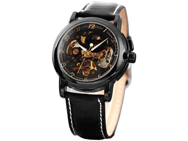 KS KS036 Men's Skeleton Dial Mechanical Black Leather Watch