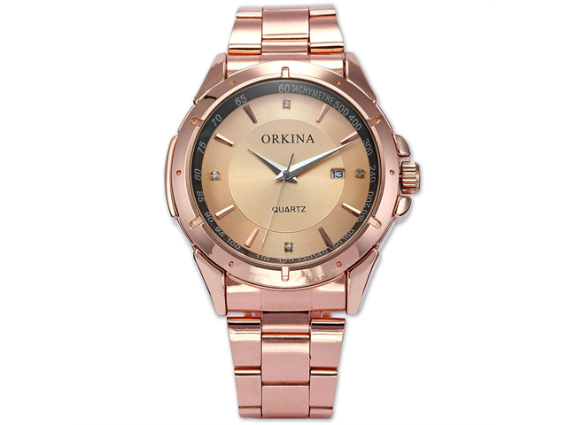Orkina Mens Luxury Rose Gold Stainless Steel Date Sport Quartz Wrist Watch Gift